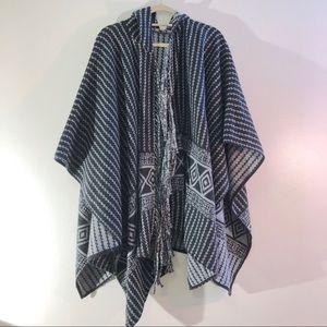 Topshop Southwestern Hooded Blanket Scarf Poncho